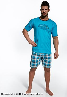 Herrpyjamas med rutiga shorts